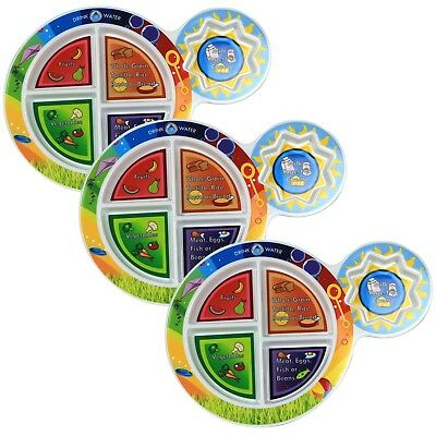 """Fresh Baby Childrens 5-Section My Food 3 Pack 7""""Multicolor Plate Food Groups"""
