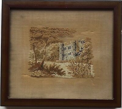 19th c Antique  Needlepoint Sampler of a Castle. Building Sampler.