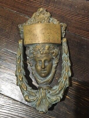 "HUGE Antique Vintage Brass Door Knocker Woman 8 1/2 Inches Tall 5"" Wide"