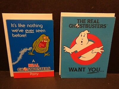 Lot of 9 Vintage Real Ghostbusters Party Invitations 1986 Hallmark CA Reed