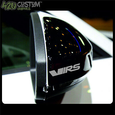 x2 VRS Mirror Stickers Half Outlined Vinyl Decal Adhesive Octavia Fabia BLACK