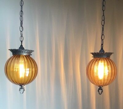 Vtg Mid Century Modern Double Pendant Hollywood Swag Light Faceted Glass Brass