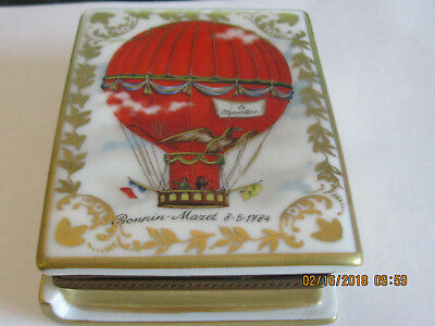 Hand Painted LIMOGES France HOT AIR BALLOON Hinged Trinket Box  big 3 inches