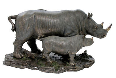 Rhino And Baby Rhino Sculpture Figure - HOME DECOR