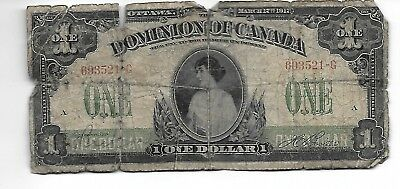1917 Canada $1  Dominion of Canada  Large Size Note  Nice Type Note