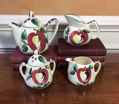 """Six Piece Set Purinton Slip Ware Pottery, Vintage 1940""""s, American Made, COTTAGE"""