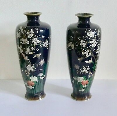 A Pair of Antique Silver Wire Japanese Cloisonne Vases