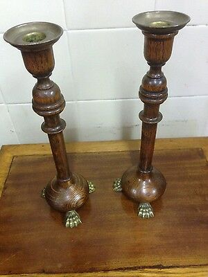 Antique Pair of Turned Wood and Brass Candlesticks With Claw Feet