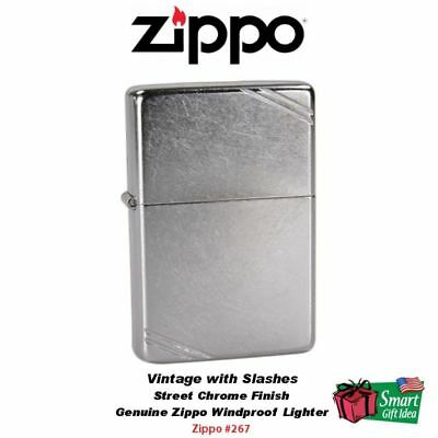 Zippo Vintage with Slashes Street Chrome Windproof Pocket Lighter #267
