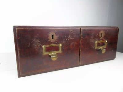 Vintage Double Drawer Cabinet Wooden  Index Draws Old Mahogany