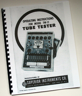 COMPLETE Manual Set for Superior Instruments SICO TW-11 Tube Tester with Charts