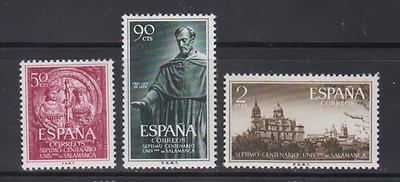 Spain (1953) New Without Fijaselllos - Edifil 1126/28 University Salamanca