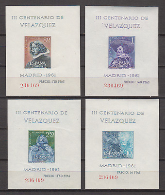 Spanien (1961)New Free Stamp Hinges Mnh Spain -Scot 1344/47 Leaves Velazquez