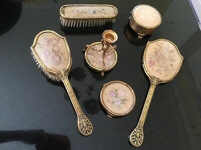Vintage Petit Point Candle Holder, Brush, Hand Mirror and Box Dressing Table Set