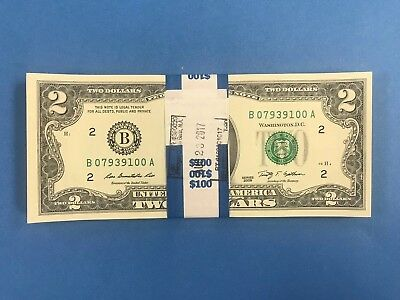 50 New Uncirculated $2 Dollar Bills 2009 Series of Sequential Collectible