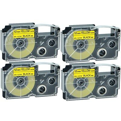"""4PK XR-12YW Black on Yellow Label Tape for Casio KL-60 100 7000 8200 8800 1/2"""""""