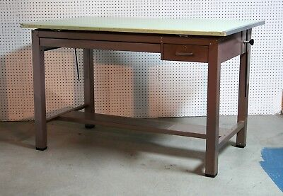 1950's vintage MAYLINE pressed steel MAPLE double draw DRAFTING TABLE 60 x 38 vg