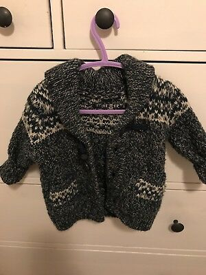 Blue Hand Knitted Boys Cardigan 6-12 Months