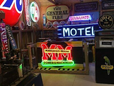 ORIGINAL Vintage MINNEAPOLIS MOLINE POWER MACHINERY Sign NEON Farm Ag TRACTOR