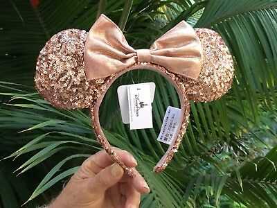 NEW Disney Parks Disneyland Minnie Mouse Rose Gold Sequin Ears Headband
