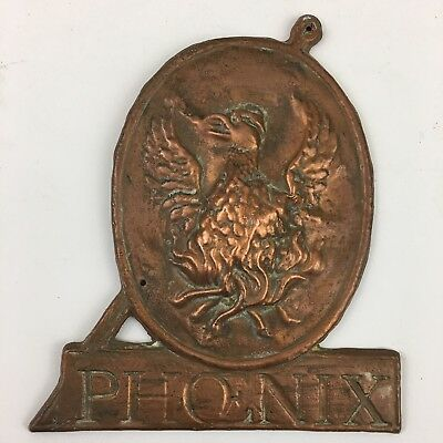 Phoenix Fire Insurance Mark / Plaque / Plate. Copper.