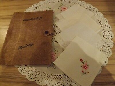 Vintage Ladies Handkerchiefs And Holder