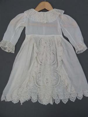 Antique Victorian child's dress with fine openwork detailing - 23'' long