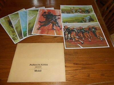 1966 Green Bay Packers MOBIL Oil Complete Set Of 8 Action 11x14 Prints NEW!!