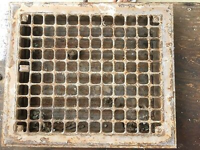 Vintage Cast Iron Floor or Wall Grate w/Damper Louvers  Antique: 14x12""