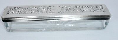 1829 Georgian Silver Topped Oblong Glass Trinket Box with pierced Decoration