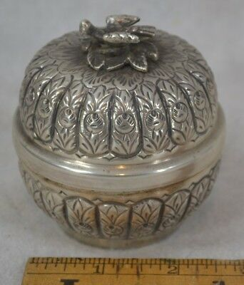 sterling silver bowl round dome repousse covered bird finial hall mark antique