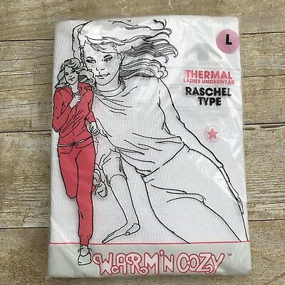 Vintage Thermal Waffle Underwear Top Long Johns NOS USA Women's Size Large