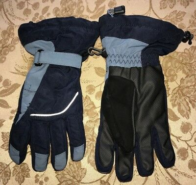 boys size medium BLUES BLACK WINTER GLOVES by LANDS END super condition NICE @@