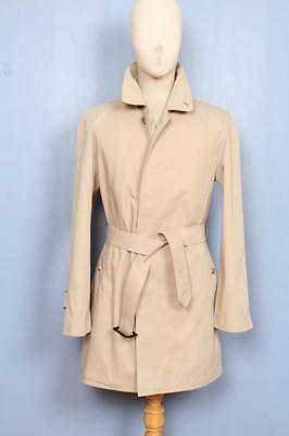 STUNNING Mens BURBERRY Single Breasted Short TRENCH Coat Mac Beige Size 38/40