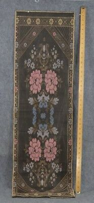 antique table sideboard runner silk cotton black silver pink Victorian  1890