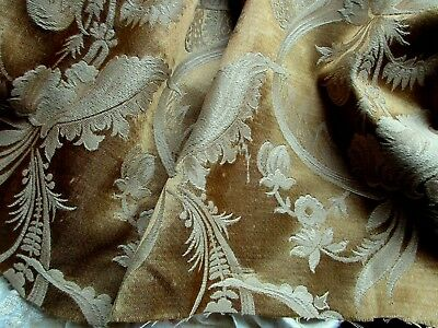 """ANTIQUE FRENCH VICTORIAN MUSTARD GOLD SILK COTTON DAMASK FABRIC PATINA 25"""" x 17"""""""
