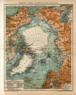 1909 ARCTIC NORTH POLE GREENLAND ICELAND ALASKA CANADA RUSSIA Antique Map dated