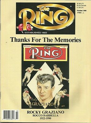 RING MAGAZINE: 1990 October (Rocky Graziano to front cover), fine/clean!