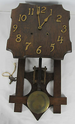 Antique c 1915  Missions Style Arts & Crafts Era Chiming Wooden Wall Clock yqz