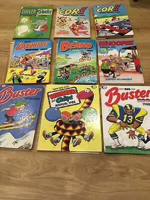 Comic annuals x 9 (Buster, Whizzer and Chips, Cor and others - 1979 to 1988)