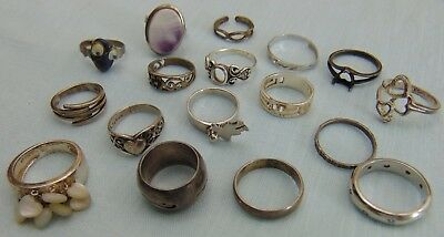 Lot Of Scrap / Wearable Sterling Silver .925 Rings 55g Grams All Marked