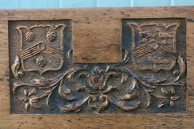 SUPERB 19thC HERALDIC WOODEN OAK PANEL WITH SHIELDS, LEAVES & OTHER c1880s