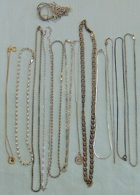Lot Of Scrap / Wearable Sterling Silver .925 Necklaces 100 Grams All Marked