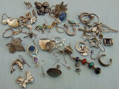Lot Of Scrap Sterling Silver .925 Earrings 70 Grams All Marked Mainly Singles