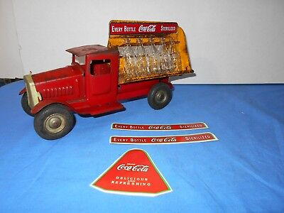 1932 Metalcraft Coca-Cola Steel Toy Truck With Coke Bottle & Extra Decal Set