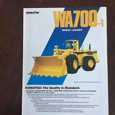 KOMATSU WA700-1 Wheel Loader - FEL Equipment Brochure Specs 1992