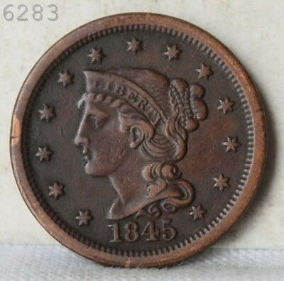 "1845 Braided Hair Large Cent ""VF+ Detail"" *Free S/H After 1st Item*"