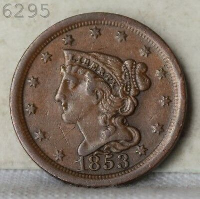 1853 Braided Hair Half Cent *Free S/H After 1st Item*