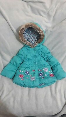 Girls turquoise winter coat age 18-24 months
