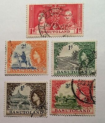 postage stamps Basutoland lot of 5 old       O